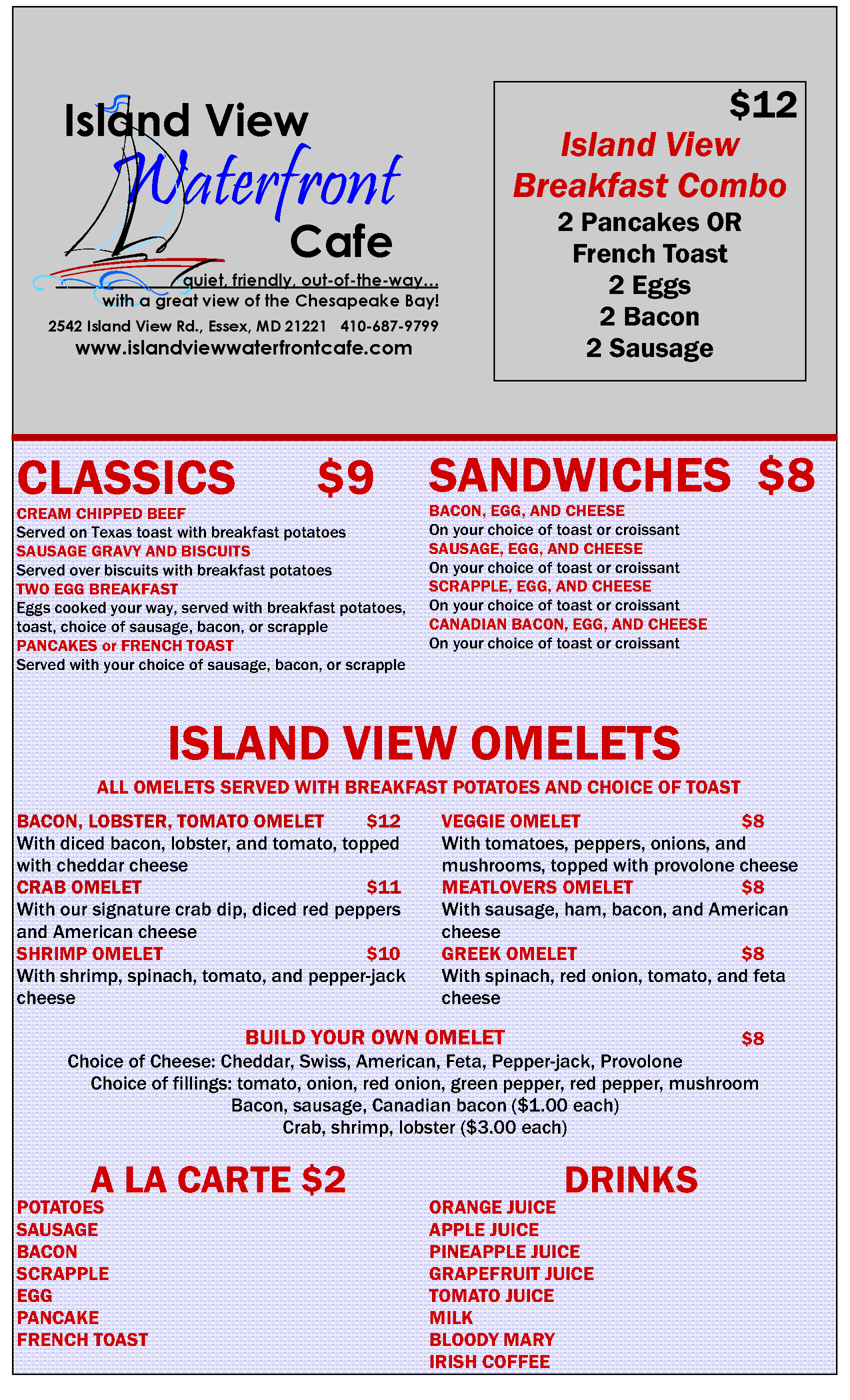 Island View Waterfront Cafe breakfast menu