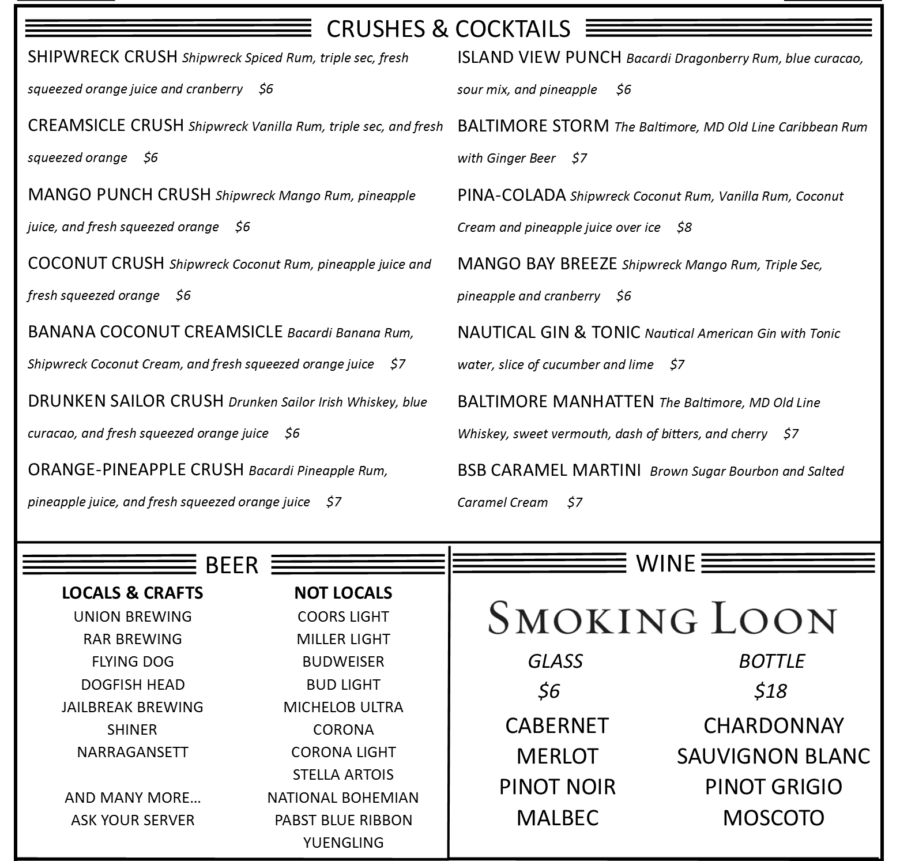 Island View Waterfront Cafe drinks menu